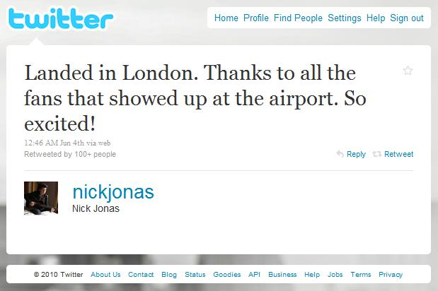 Did Nick Jonas really post flight details to Twitter?