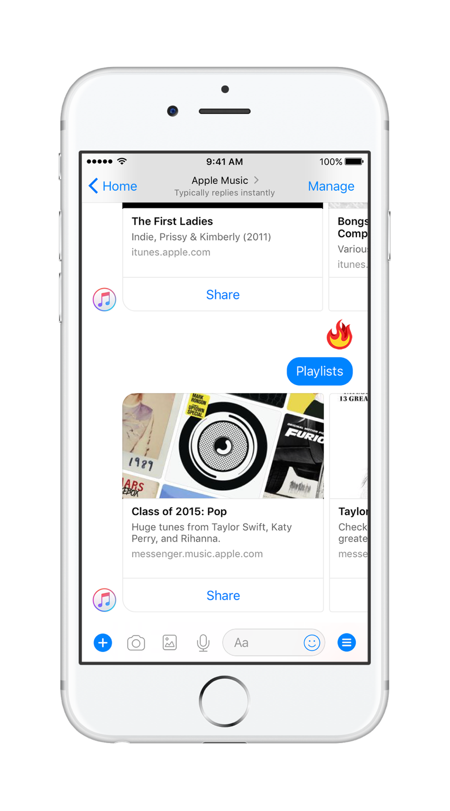 Apple Music officially launches on Facebook Messenger
